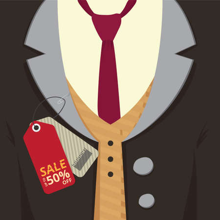 Illustration for Coat with sale tag - Royalty Free Image