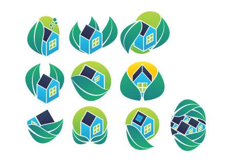 Ilustración de ecofriendly house icons - Imagen libre de derechos