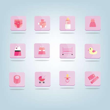 Illustration pour A set of baby icons illustration. - image libre de droit