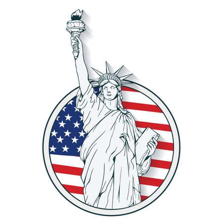 Ilustración de statue of liberty label - Imagen libre de derechos