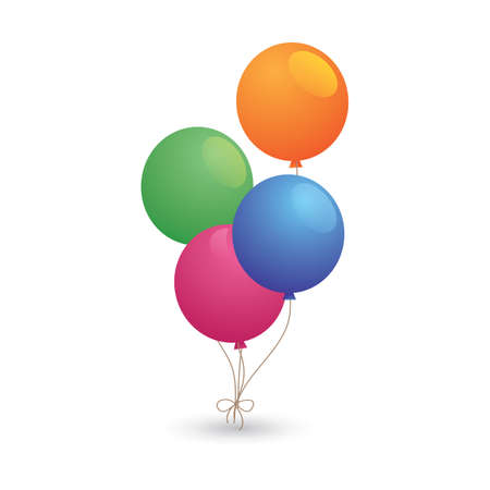 Illustration for balloons with strings - Royalty Free Image