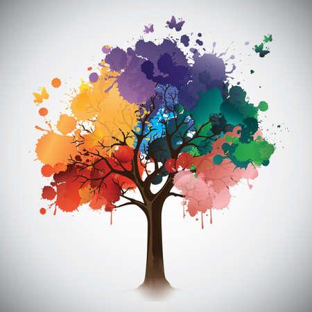 Ilustración de tree leaves made out of paint splatters - Imagen libre de derechos