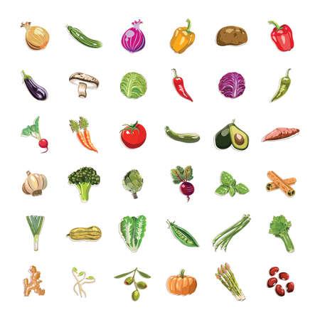 Ilustración de vegetable and fruit collection - Imagen libre de derechos