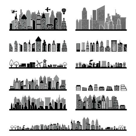 Illustration pour black and white city skyline collection - image libre de droit