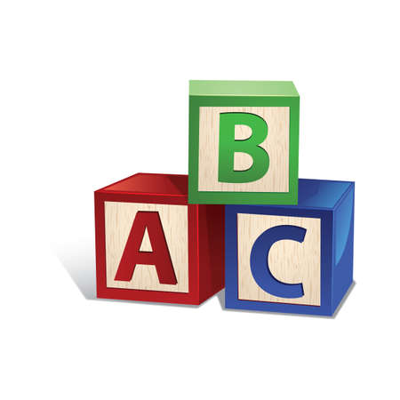 Ilustración de wooden letter toy blocks - Imagen libre de derechos