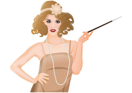 Illustration for flapper girl - Royalty Free Image