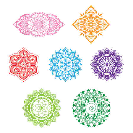Illustration pour set of beautiful ornamental chakras - image libre de droit