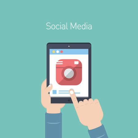 Illustration pour social media on digital tablet - image libre de droit