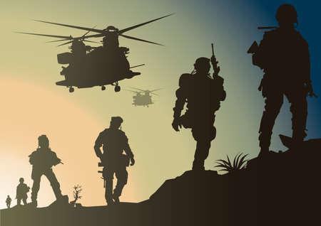 Illustration pour army in battlefield - image libre de droit