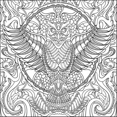Illustration pour Intricate owl design on black and white colors. - image libre de droit
