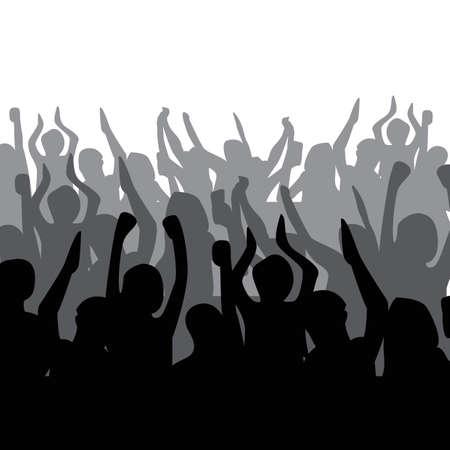 Illustration pour A silhouette of crowd cheering - image libre de droit