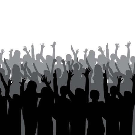 Illustration pour silhouette of crowd cheering - image libre de droit