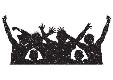 Illustration pour silhouette of people cheering - image libre de droit