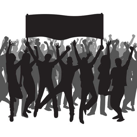 Illustration pour Silhouette of people holding a banner and cheering - image libre de droit