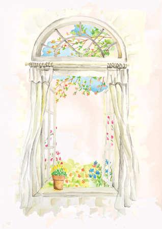Illustration pour open window sill design - image libre de droit