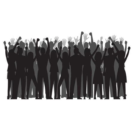Illustration pour silhouette of cheering crowd - image libre de droit