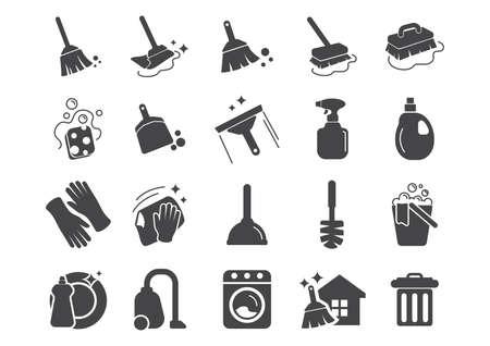 Illustration pour set of cleaning tools icons - image libre de droit