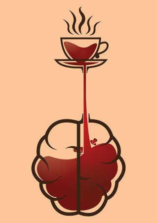 Illustration pour coffee fills the brain design - image libre de droit