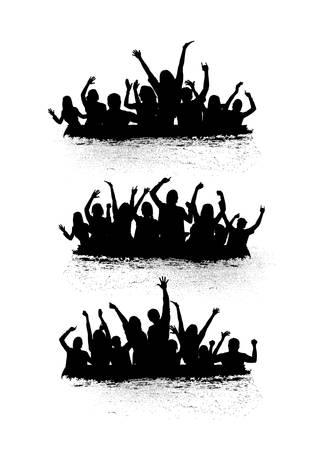Illustration pour set of cheering crowd icons - image libre de droit