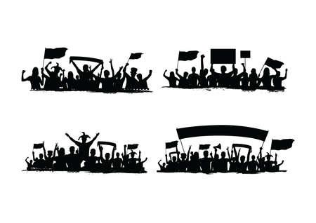 Illustration pour collection of crowd silhouettes - image libre de droit