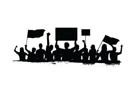 Illustration pour crowd protesting - image libre de droit