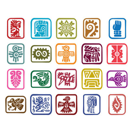 Illustration for set of aztec symbol icons - Royalty Free Image