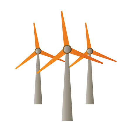 Illustration for wind turbines - Royalty Free Image