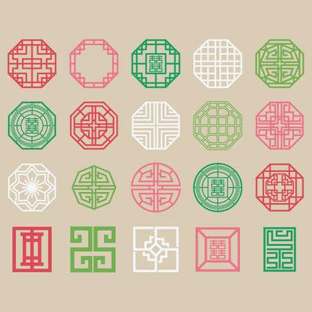 Illustration pour set of traditional korean patterns - image libre de droit