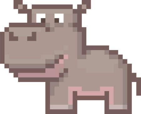 Illustration for pixel hippopotamus - Royalty Free Image