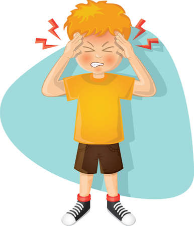 Illustration for boy with a headache - Royalty Free Image