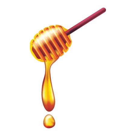 Ilustración de Honey flowing from wooden honey dipper - Imagen libre de derechos