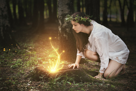 Photo for Beautiful girl staring at fairies in a magical forest . Fantasy concept - Royalty Free Image