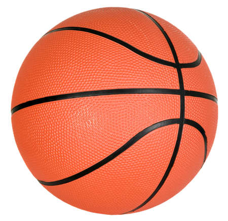 There is orange ball with black strips for basketball game