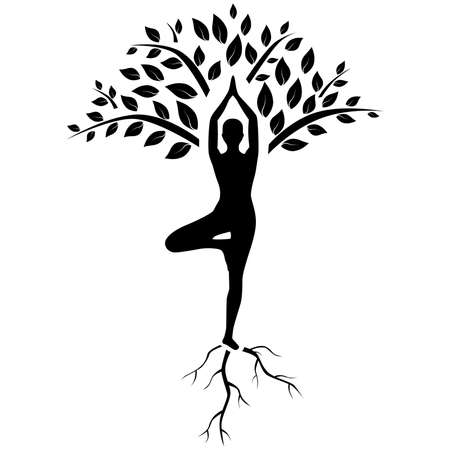 Ilustración de silhouette of man in tree pose in art processing . - Imagen libre de derechos