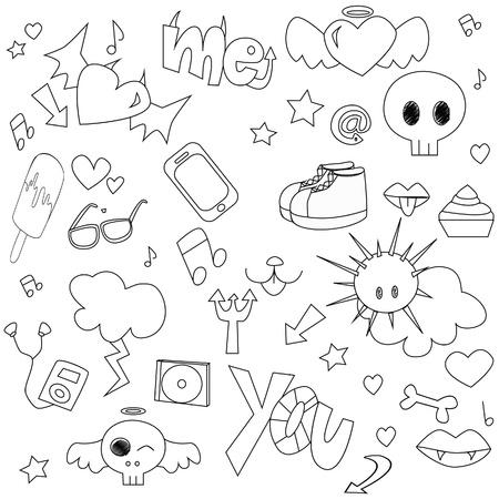Illustration pour Doodle teen pattern - image libre de droit