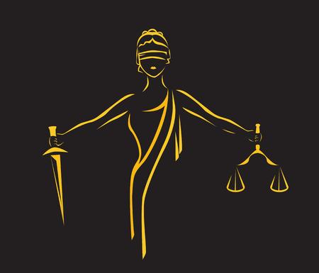 Illustration pour Justice Goddess Themis, lady justice Femida. Stylized contour vector. Blind woman holding scales and sword. - image libre de droit
