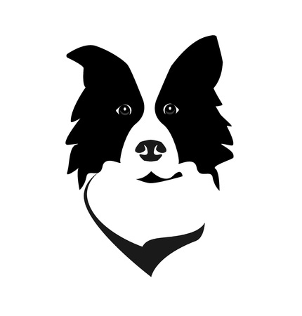 Ilustración de Border Collie head logo icon vector. Dog face simple design. - Imagen libre de derechos