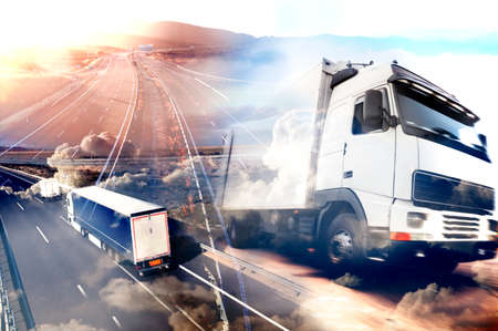 Photo pour Abstract background Trucks and transport.Highway and delivering. - image libre de droit