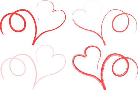 Ilustración de Four different red line types are tracing curly hearts in white background - Imagen libre de derechos