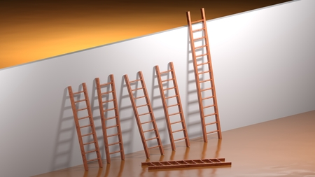 Photo for A wall to be climbed; many ladders are too short and one is fallen to ground; but the last one is long enough to succeed in overcoming the obstacle - 3D rendering - Royalty Free Image