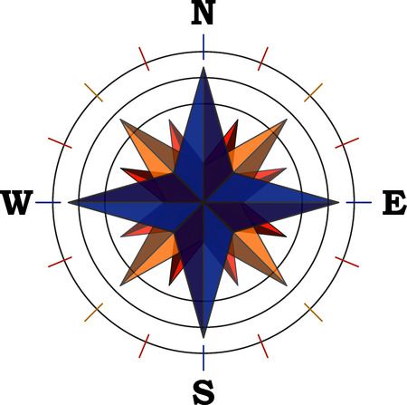 Illustration pour A compass with the main cardinal points - vector - image libre de droit