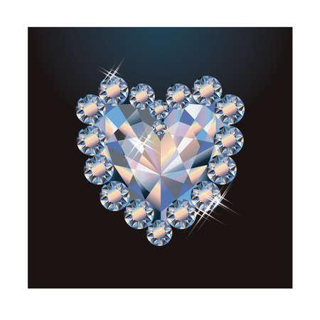 Ilustración de Diamond heart greeting card, vector illustration - Imagen libre de derechos
