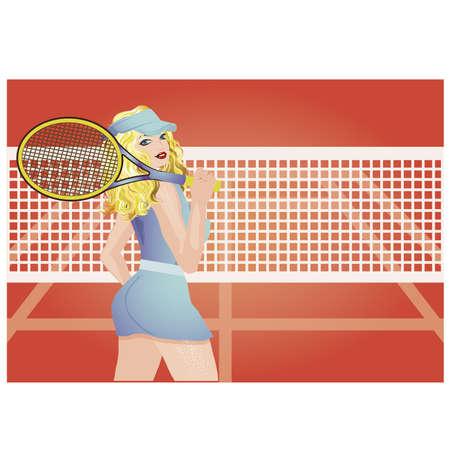 Ilustración de Beautiful tennis player on the tennis court, vector illustration - Imagen libre de derechos