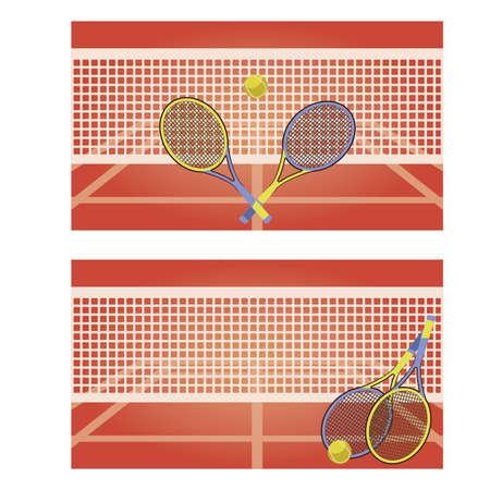 Ilustración de Tennis court horizontal banners, vector illustration - Imagen libre de derechos
