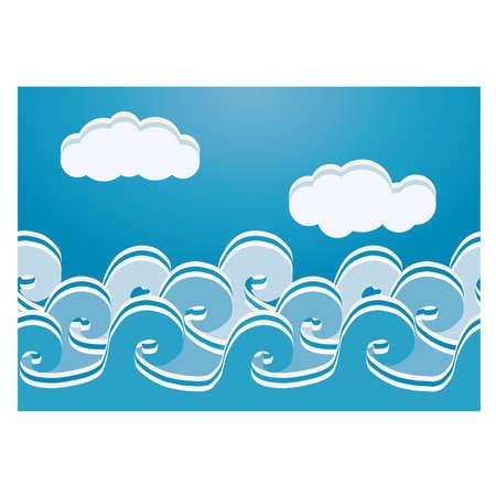 Ilustración de Sea waves seamless pattern, vector illustration - Imagen libre de derechos