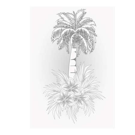 Ilustración de Beautiful summer card with palm tree, vector illustration - Imagen libre de derechos