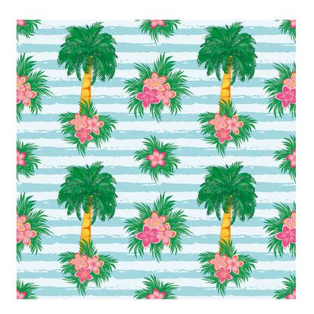 Ilustración de Palm tree floral seamless pattern, vector illustration - Imagen libre de derechos