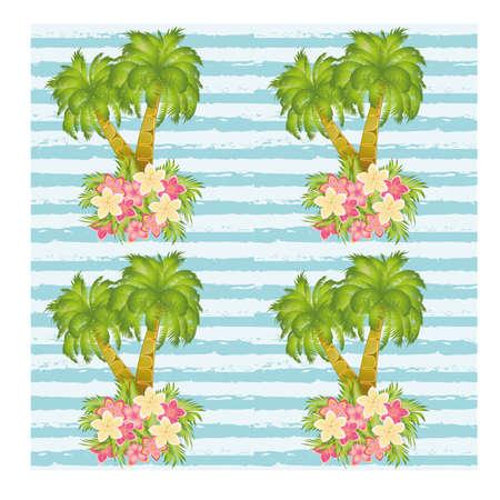 Ilustración de Tropical palm tree seamless pattern, vector illustration - Imagen libre de derechos