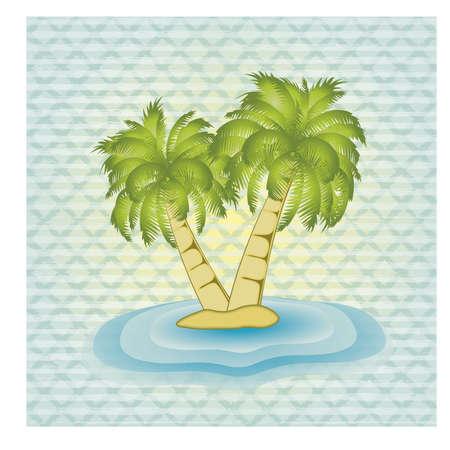 Ilustración de Summer card with palm tree, vector illustration - Imagen libre de derechos