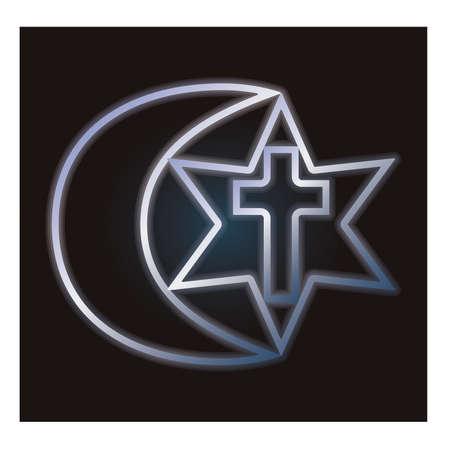 Ilustración de Symbols of three religions, vector illustration - Imagen libre de derechos